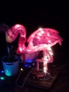 light-up holiday flamingos
