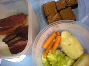 corned beef dinner and brownies