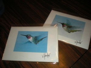 Paintings on greeting cards.