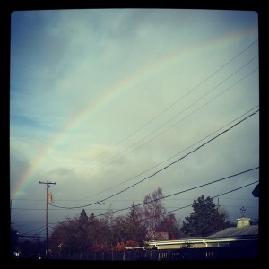 rainbows, parking lot scenes, wet bike rides in eugene