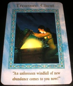 oracle cards, mermaid messages, treasure chest, dream it then be it